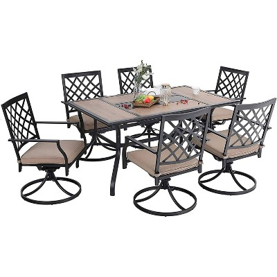 7pc Metal Patio Dining Set with Rectangular Table & 6 Swivel Chairs - Captiva Designs