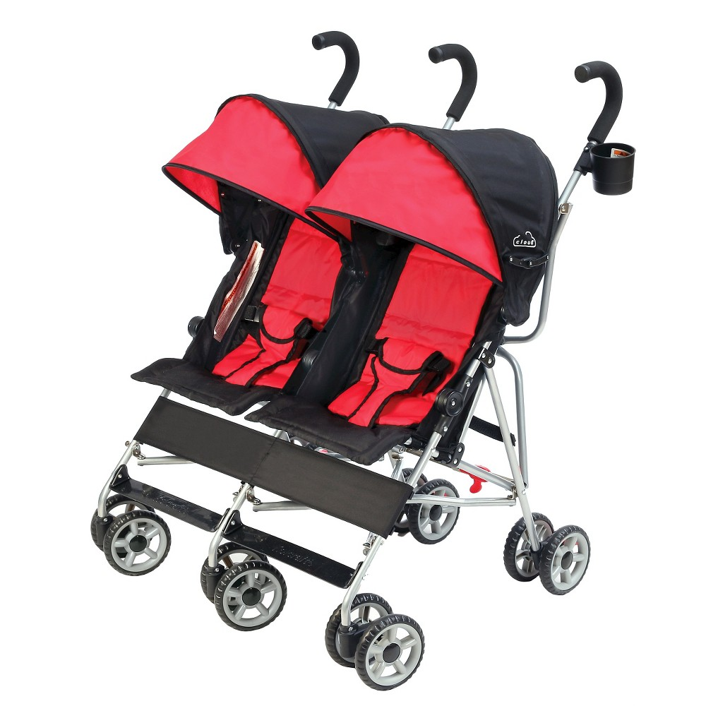 Image of Kolcraft Cloud Side-by-Side Double Umbrella Stroller, Red