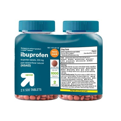 Ibuprofen (NSAID)Pain Reliever & Fever Reducer Tablets Twin Pack - 2x500ct - up & up™