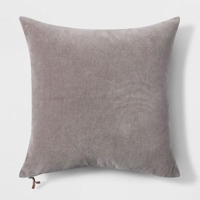 Velvet with Zipper Square Throw Pillow Gray - Threshold™