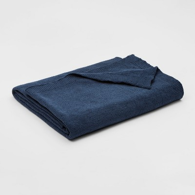 Full/Queen Marled Chenille Blanket Blue - Threshold™
