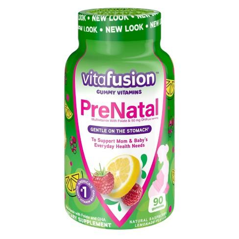 Vitafusion PreNatal Multivitamin Dietary Supplement Gummies - Lemon & Raspberry Lemonade - 90ct - image 1 of 4