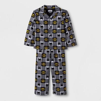 Toddler Boys' Batman 2pc Coat Pajama Set - Black