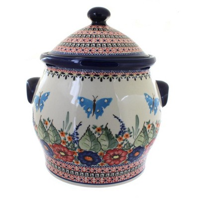 Blue Rose Polish Pottery Floral Butterfly Cookie Jar