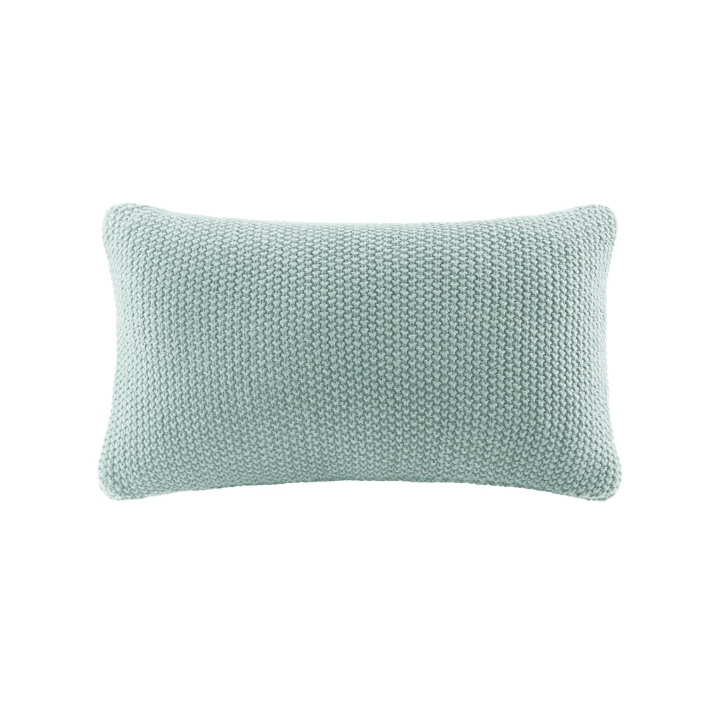 "Image of ""Bree Knit Throw Pillow Aqua, Size: 20""""x12"""", Blue"""