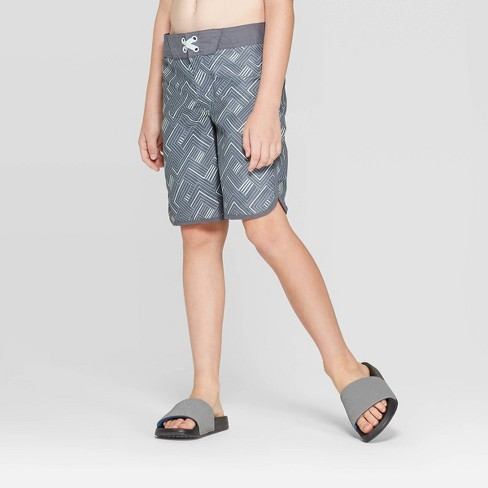 Boys' Geometric Pattern Swim Trunks - art class™ Gray - image 1 of 3
