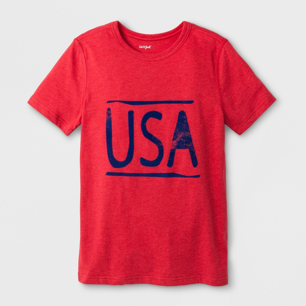 Boys' Adaptive Short Sleeve USA Graphic T-Shirt - Cat & Jack Red L
