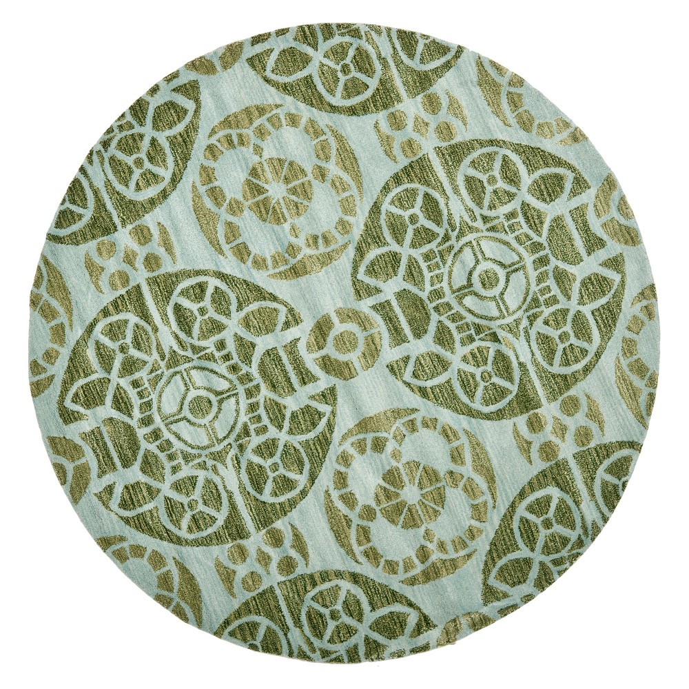 7' Medallion Tufted Round Area Rug Turquoise/Green - Safavieh