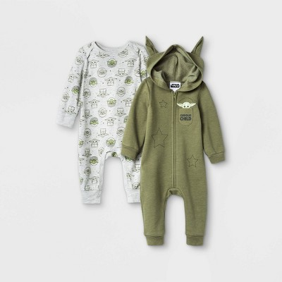Baby Boys' 2pk Star Wars Baby Yoda Knit Long Sleeve Jumpsuits - Olive Green 3-6M