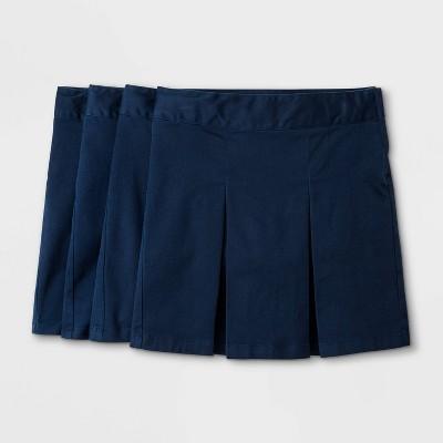 Girls' 4pk Stretch Uniform Pleated Twill Skorts - Cat & Jack™ Navy
