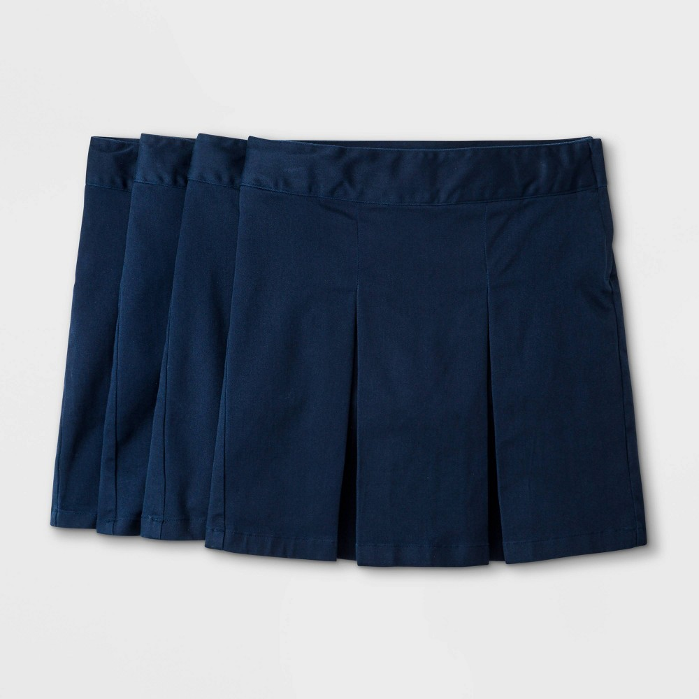 Girls 39 4pk Stretch Uniform Pleated Twill Skorts Cat 38 Jack 8482 Navy 10 Plus
