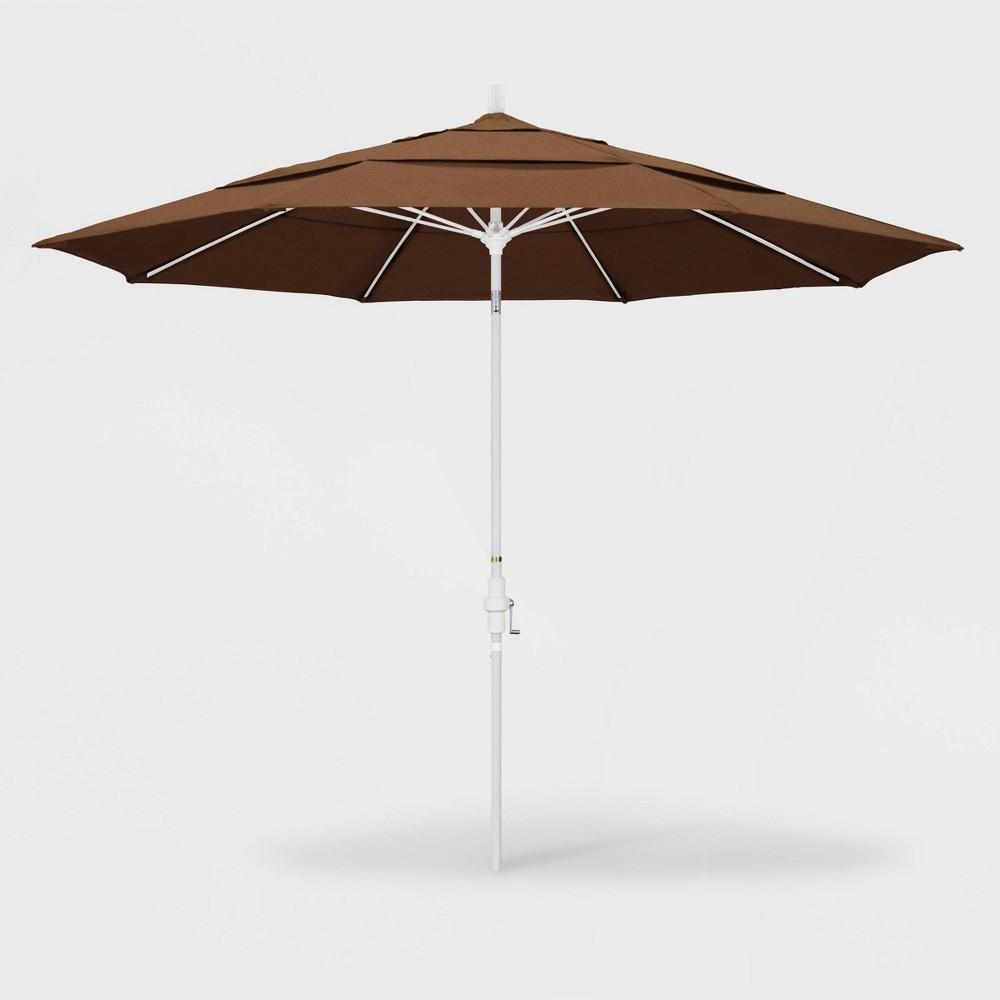 Image of 11' Sun Master Patio Umbrella Collar Tilt Crank Lift - Sunbrella Teak - California Umbrella