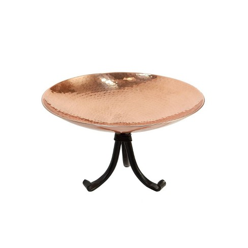 "8.5"" Stainless Steel Birdbath Bowl with Tripod Stand Polished Copper Plated - ACHLA Designs - image 1 of 4"