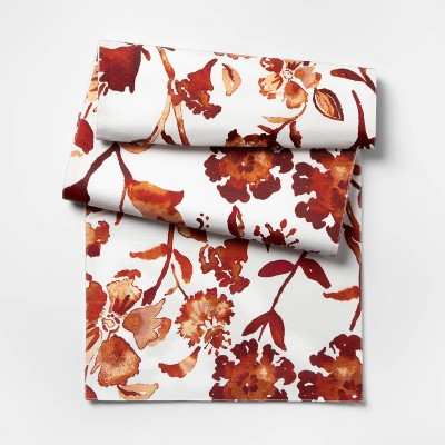 72 X14  Warm Watercolor Floral Table Runner Red - Threshold™