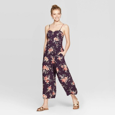 Women's Floral Print Sleeveless Strappy Bra Cup Jumpsuit - Xhilaration™ Wine M