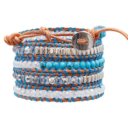 "Women's Wrap Fashion Bracelet with Beads - Turquoise/White (30"") - image 1 of 1"