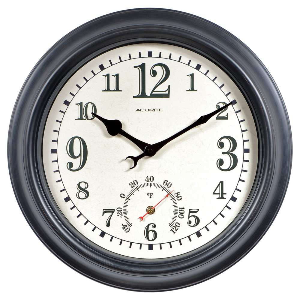 Image of 18 Metal Outdoor / Indoor Wall Clock with Thermometer - Antique Black Finish - Acurite
