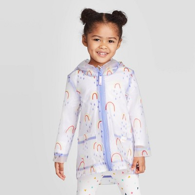 Toddler Girls' Rainbow Print Rain Jacket - Cat & Jack™ White/Blue 12M
