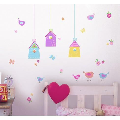 fun4walls bird houses wall stickers set of 2 - purple/blue : target