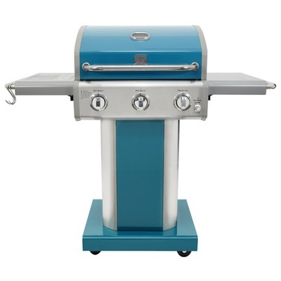 Kenmore 3-Burner Outdoor Patio Gas BBQ Propane Grill PG-4030400LD-TL Teal