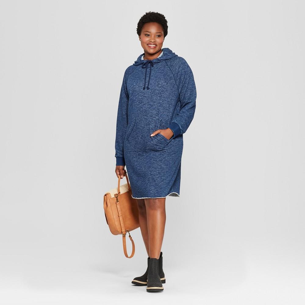 Women's Plus Size Long Sleeve Hooded Sweatshirt Dress - Universal Thread Indigo 2X, Blue