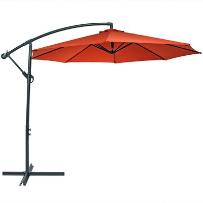Steel Offset Cantilever Patio Umbrella 10' - Burnt Orange - Sunnydaze Decor