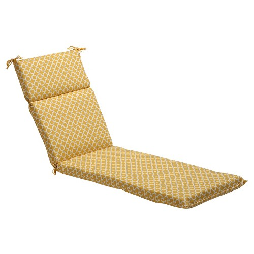 Outdoor Chaise Lounge Cushion - Yellow/White Geometric - Pillow Perfect