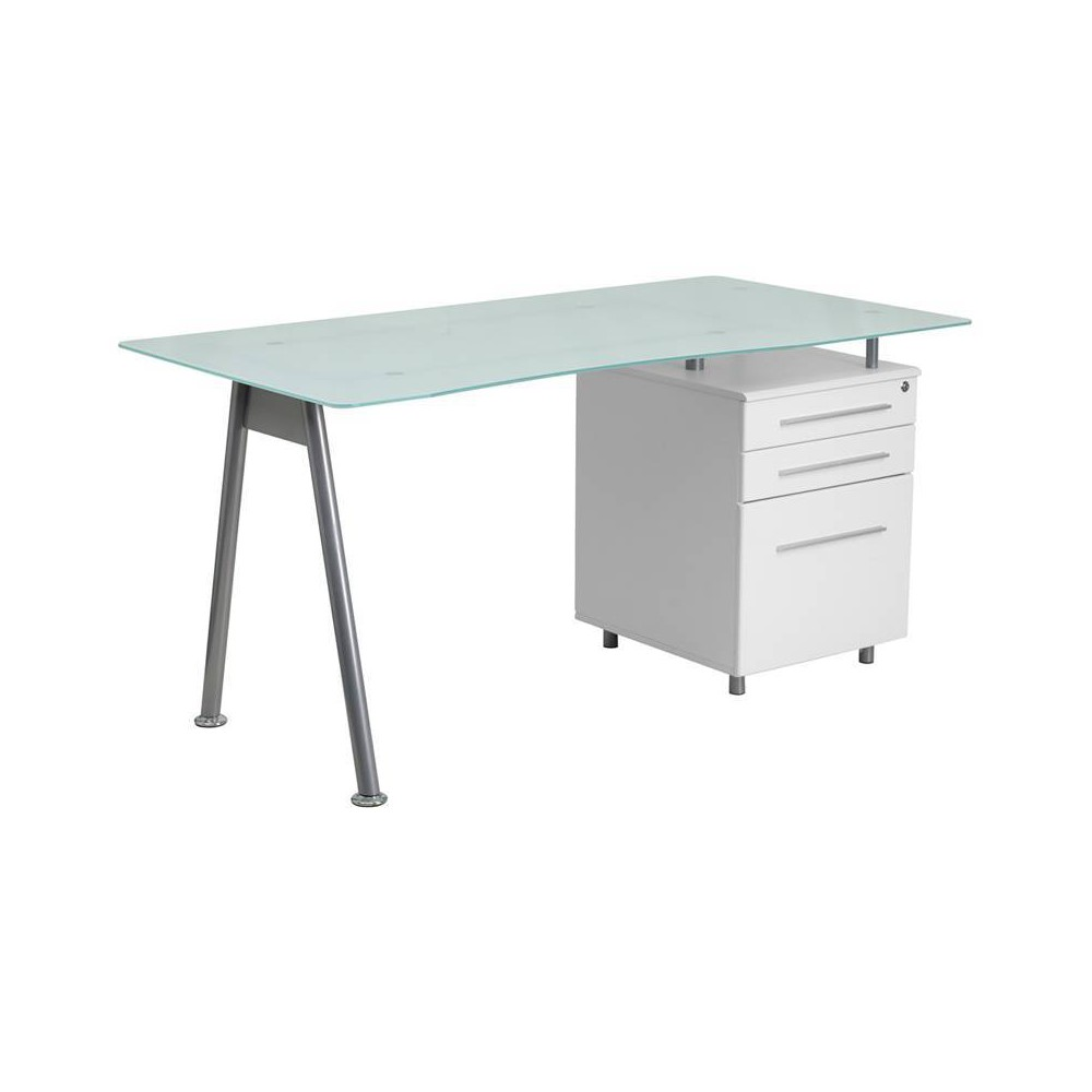 Glass Computer Desk with Three Drawer Pedestal - Frosted Glass Top/Silver Frame/White Pedestal - Riverstone Furniture Collection
