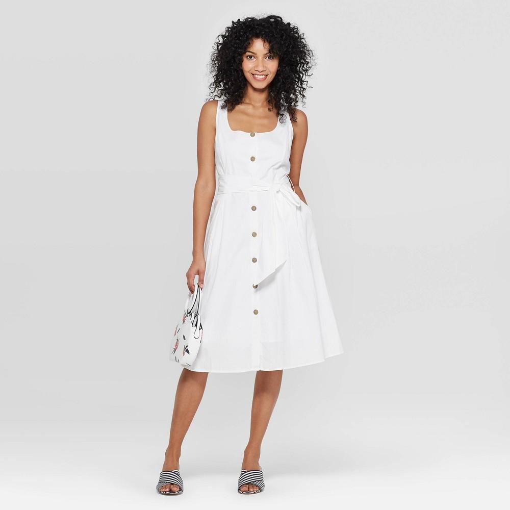 Women's Sleeveless Square Neck Dress - A New Day Cream 12, Beige