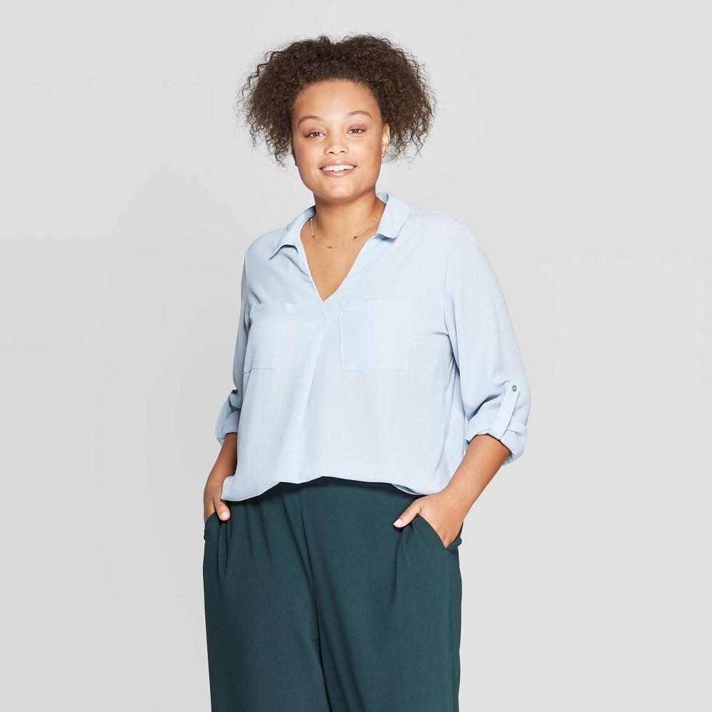 Women's Plus Size Long Sleeve Collared Utility Pocket Shirt – Ava & Viv Light Blue 3X