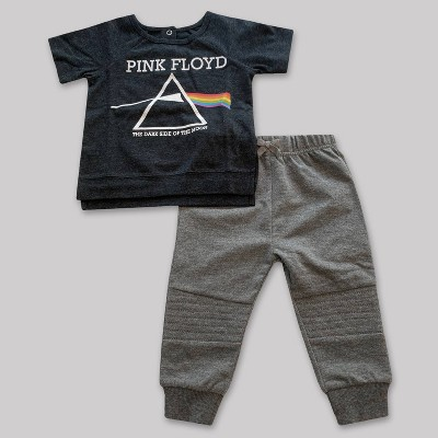 Baby Boys' 2pk Pink Floyd Top and Bottom Set - Dark Heather 0-3M