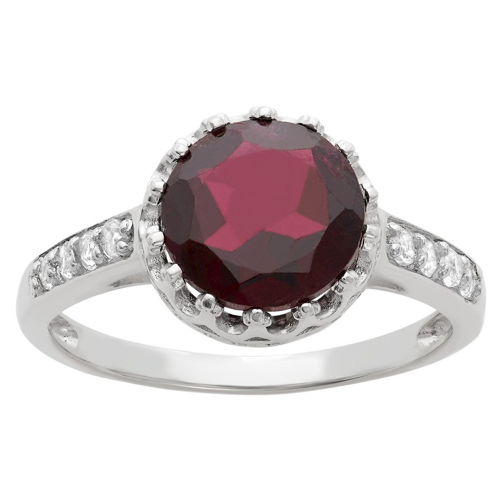 2 Tcw Tiara Round-cut Garnet Crown Ring in Sterling Silver - (7)