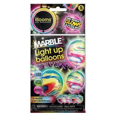 5ct illooms LED Light Up Marble Balloon