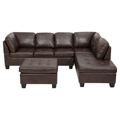 Canterbury 3-piece Faux Leather Sectional Sofa Set - Brown Christopher Knight Home