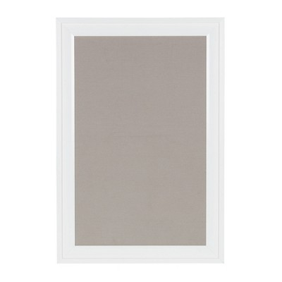 "19"" x 28"" Bosc Framed Gray Linen Fabric Pinboard White - DesignOvation"