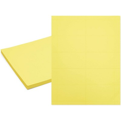 Stockroom Plus 50 Sheets 500 Cards A4 Size Yellow Printable Business Card Sheets 3.5 x 2 In
