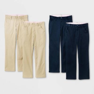 Girls' 4pk Flat Front Stretch Uniform Straight Fit Pants - Cat & Jack™ Khaki/Navy