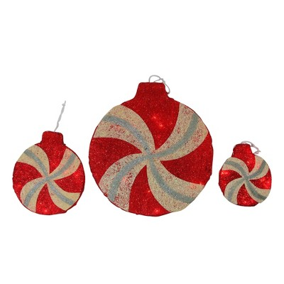 """Penn Set of 3 Red and Ivory Peppermint Twist Lighted Glitter Christmas Decor 16"""""""
