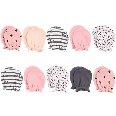 Hudson Baby Infant Girl Cotton Scratch Mittens, Berry Floral, 0-6 Months