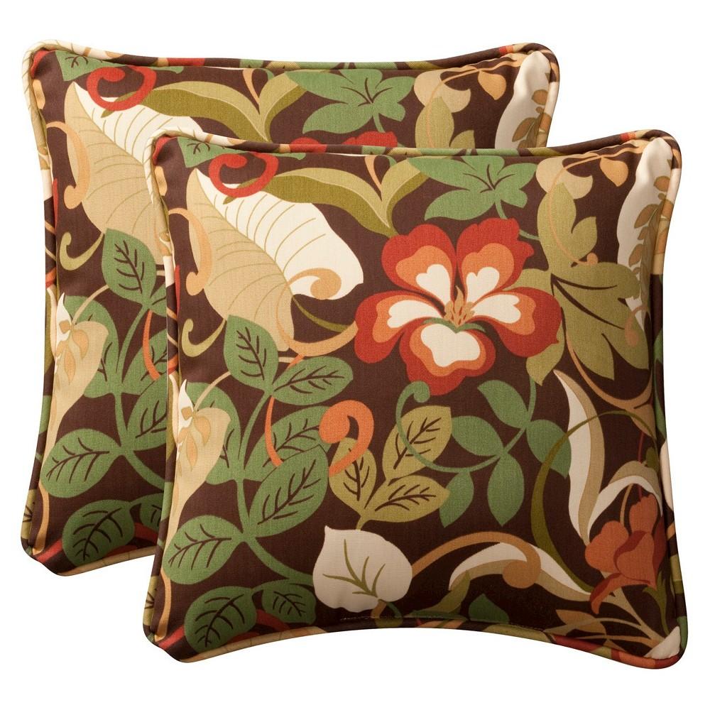 2 Piece Outdoor Toss Pillow Set Brown Green Floral 18