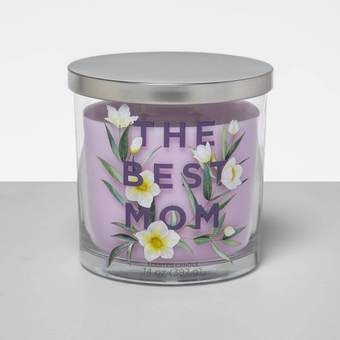 14oz Mother's Day Decal Lidded Glass Jar 2-Wick Candle - Opalhouse™ - image 1 of 2