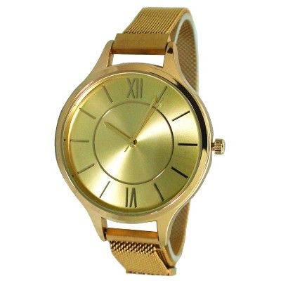 Olivia Pratt Mesh Fashion Watch With Magnetic Closure - Gold