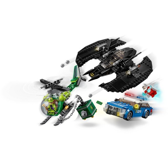 LEGO DC Comics Super Heroes Batman Batwing and The Riddler Heist 76120 Toy Plane Building Set 489pc image number null