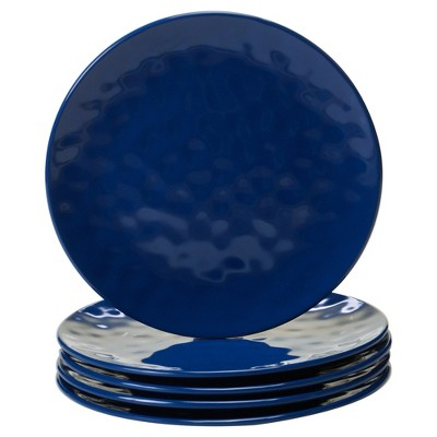 """Certified International Solid Color Melamine Salad Plates 9"""" Cobalt - Set of 6"""