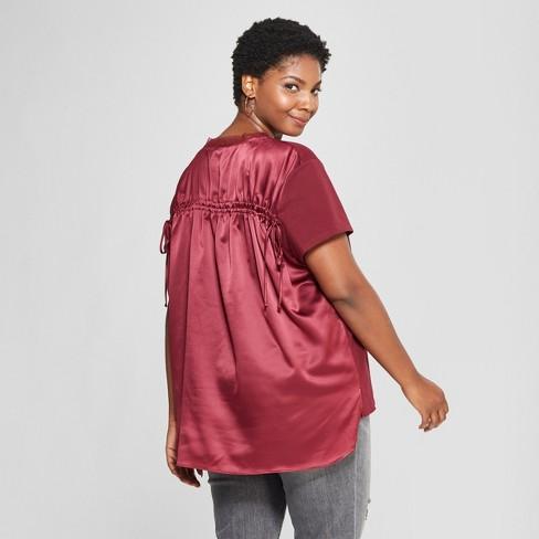 563057d0945 Women s Plus Size Ruched Back Short Sleeve T-Shirt- Ava   Viv™ Burgundy 4X    Target