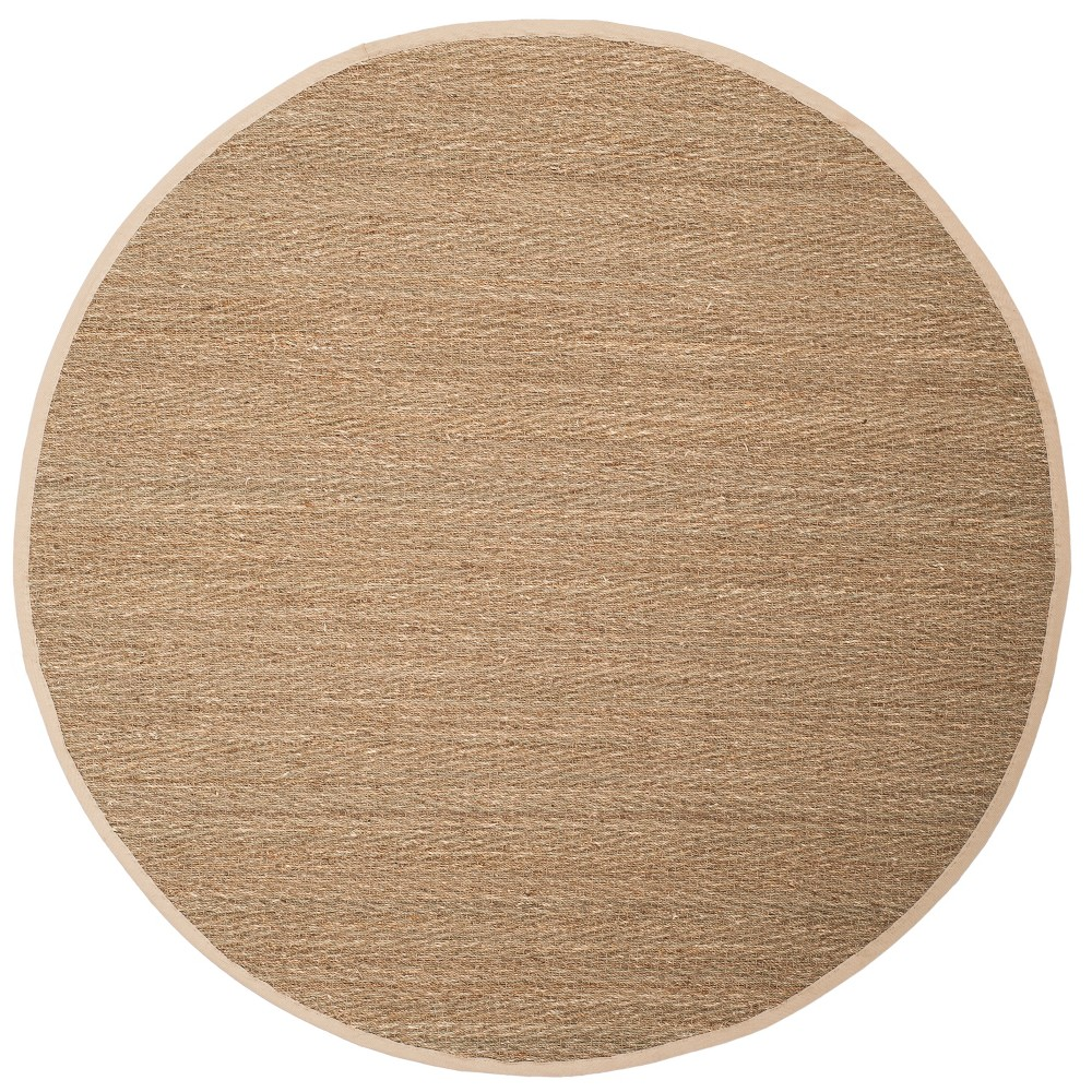 6' Solid Loomed Round Area Rug Natural/Ivory - Safavieh