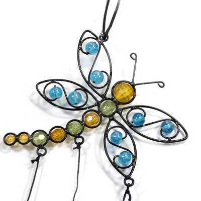 "Home & Garden 21.0"" Dragonfly Butterfly Chime Orn Beads Metal Ganz  -  Bells And Wind Chimes"