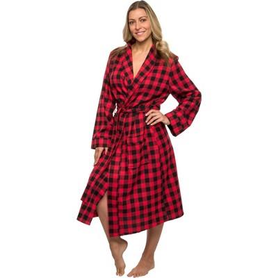 Silver Lilly - Women's Wrap Style Buffalo Plaid Plush Luxury Bathrobe