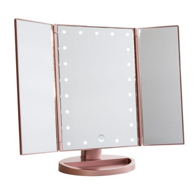Impressions Vanity Touch 3.0 Trifold Dimmable LED Makeup Mirror - Rose Gold