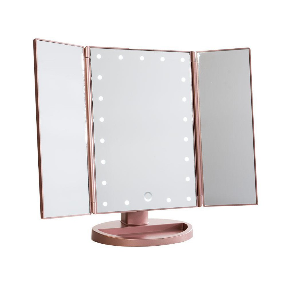 Image of Impressions Vanity Touch 3.0 Trifold Dimmable LED Makeup Mirror - Rose Gold
